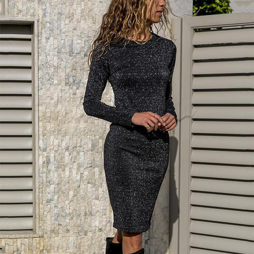 Casual Round Neck Long Sleeve Bodycon Dresses