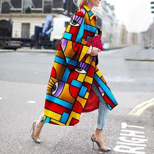 Fashion Geometric Color Printed Coats