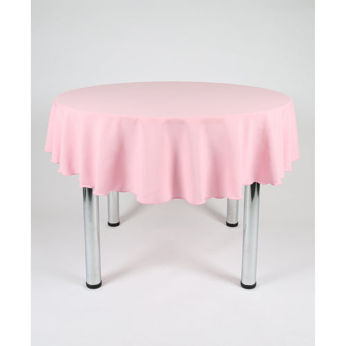 Baby Pink Round Polyester Fabric Tablecloth