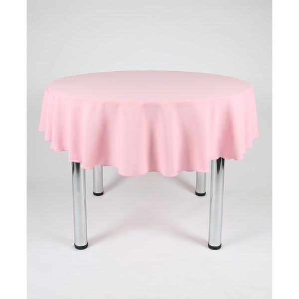 Baby Pink Round Polyester Fabric Table cloth