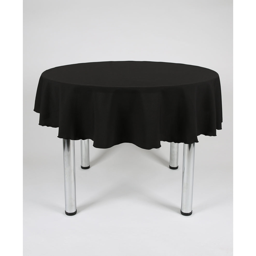 Black Round Polyester Fabric Table cloth - Extra Wide  Suitable for weddings, parties, christenings.