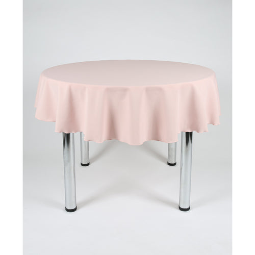 Blush Pink Round Polyester Fabric Tablecloth