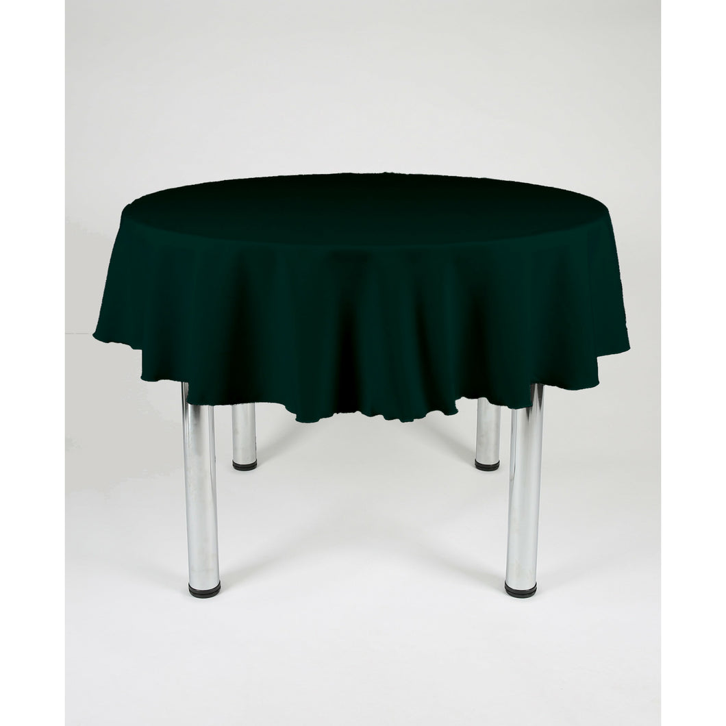 Bottle Green Round Polyester Fabric Tablecloth