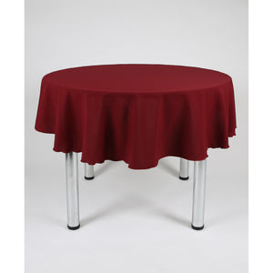 Burgundy Round Polyester Fabric Tablecloth