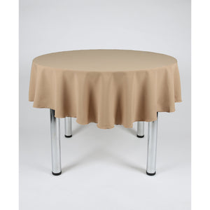 Camel Round Polyester Fabric Tablecloth