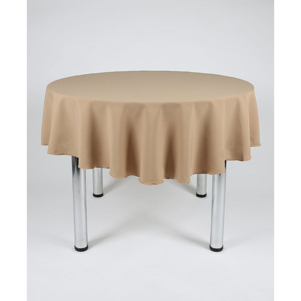 Camel Round Polyester Fabric Table cloth