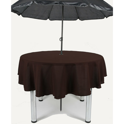 Dark Brown Round Polyester Fabric Garden Patio Table cloth
