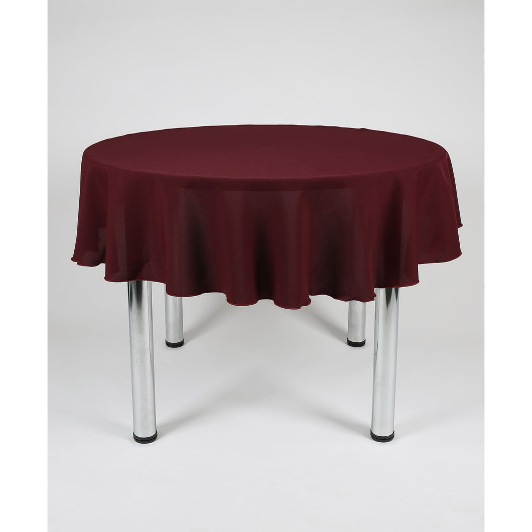 Dark Burgundy Round Polyester Fabric Table cloth - Extra Wide  Suitable for weddings, parties, christenings.