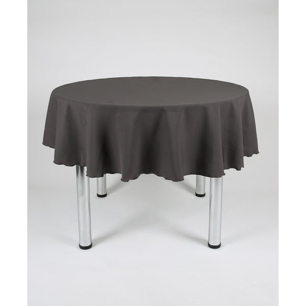 Dark Grey Round Polyester Fabric Table cloth - Extra Wide