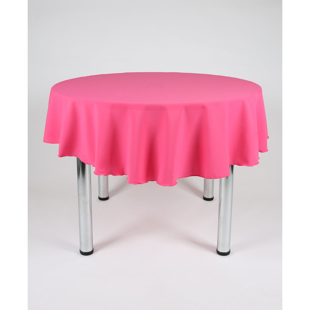 Hot Pink Round Polyester Fabric Tablecloth - Extra Wide  Suitable for weddings, parties, christenings.