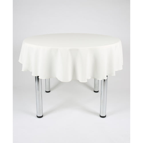 Ivory Round Polyester Fabric Tablecloth