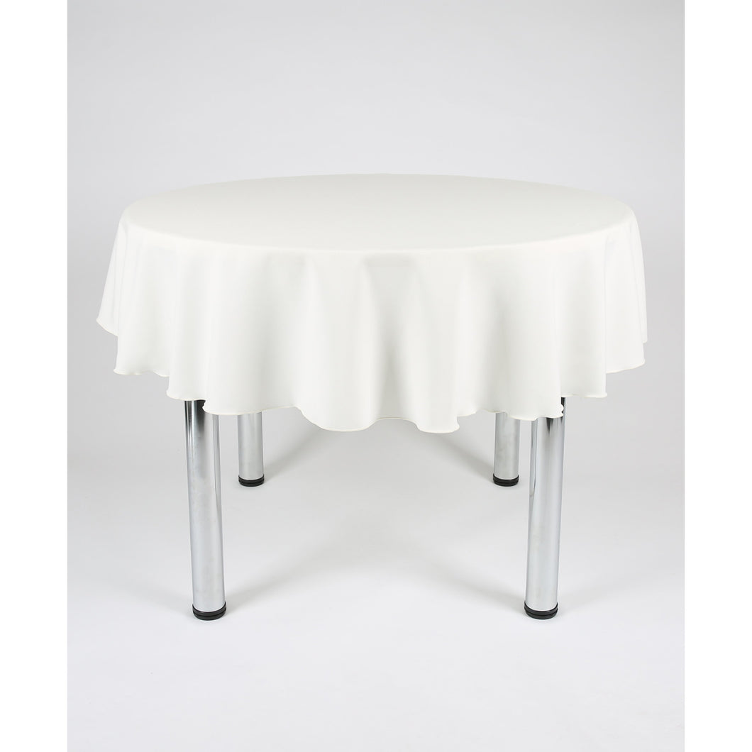 Ivory Round Polyester Fabric Table cloth - Extra Wide Suitable for weddings, parties, christenings.