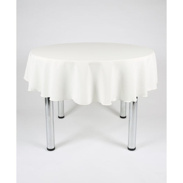 Ivory Round Polyester Fabric Table cloth