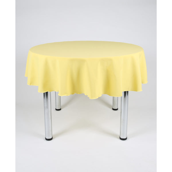 Lemon Round Polyester Fabric Table cloth - Extra Wide Suitable for weddings, parties, christenings.