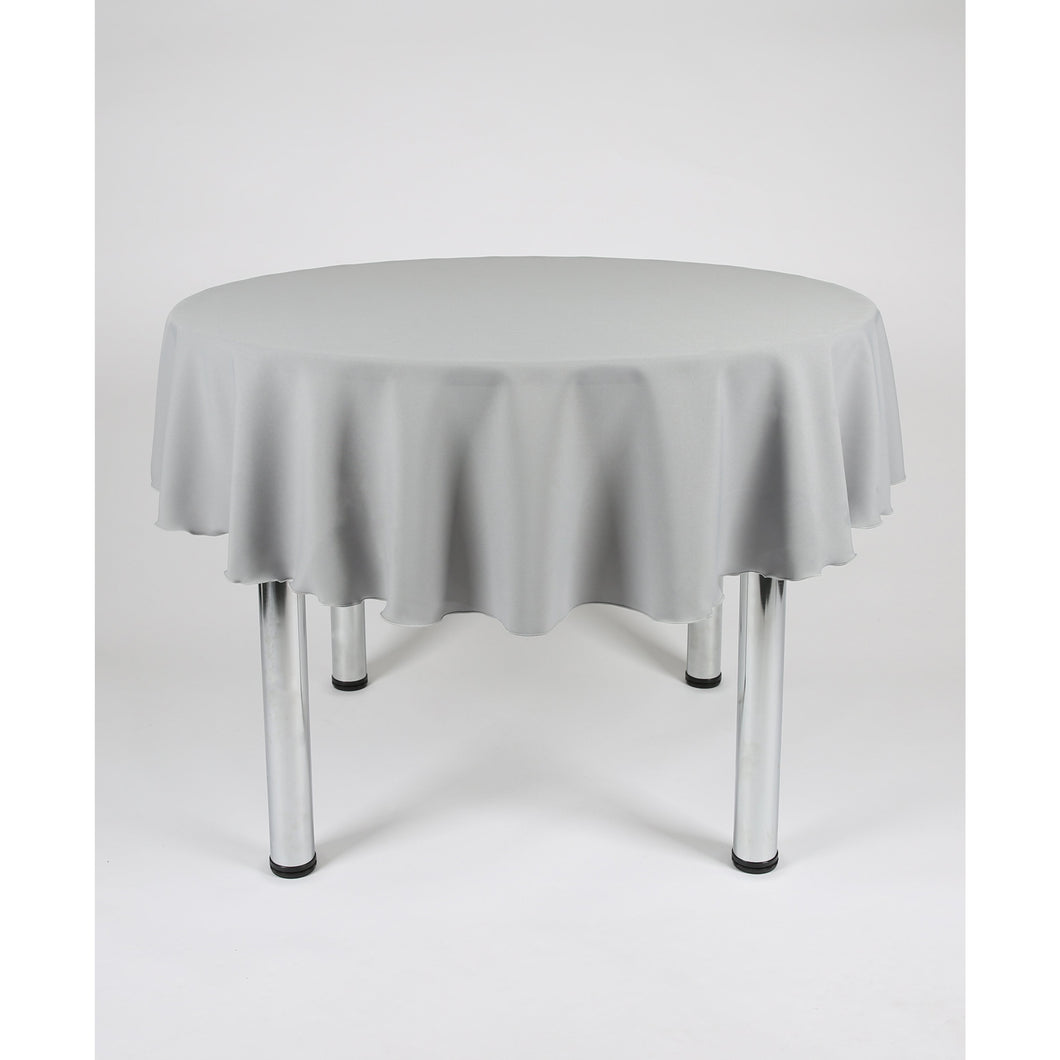 Light Grey (Silver) Round Polyester Fabric Tablecloth