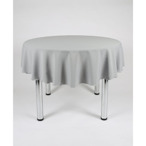 Light Grey (Silver) Round Polyester Fabric Tablecloth - Extra Wide Suitable for weddings, parties, christenings.
