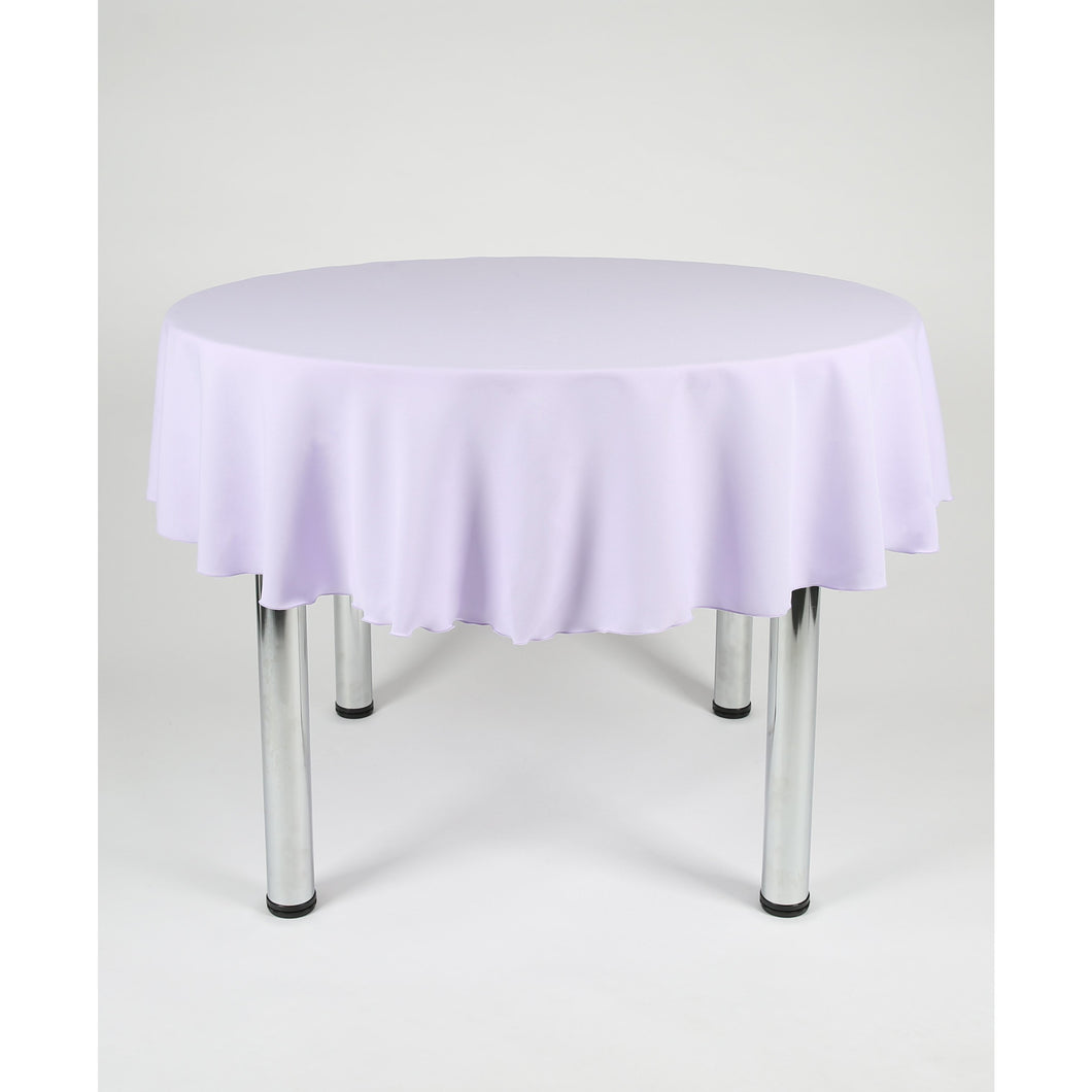 Lilac Round Polyester Fabric Table cloth - Extra Wide Suitable for weddings, parties, christenings.