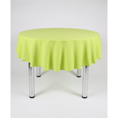 Lime Green Round Polyester Fabric Tablecloth - Extra Wide Suitable for weddings, parties, christenings.