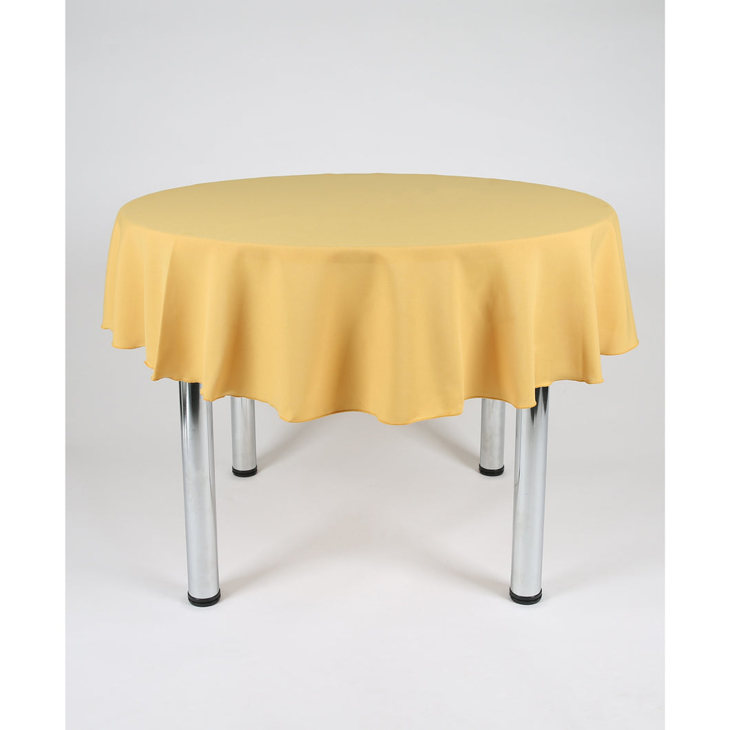 Mustard Round Polyester Fabric Table cloth - Extra Wide Suitable for weddings, parties, christenings.