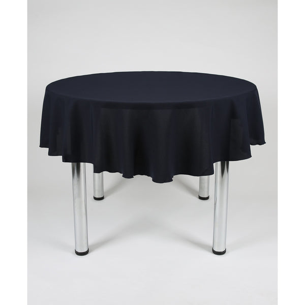 Dark Navy Blue Round Polyester Fabric Table cloth