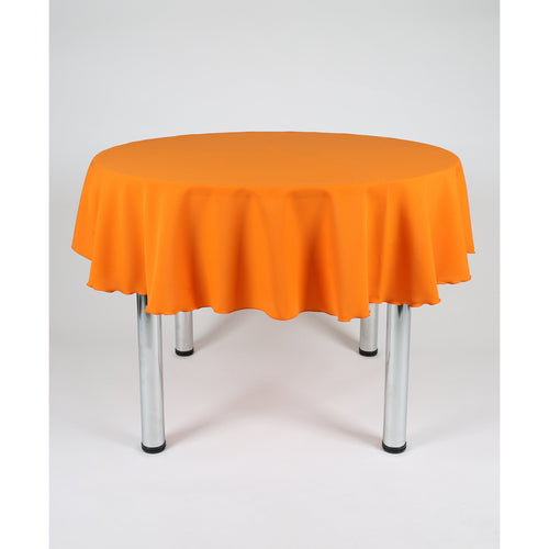 Orange Round Polyester Fabric Tablecloth - Extra Wide suitable for weddings, parties, christenings.