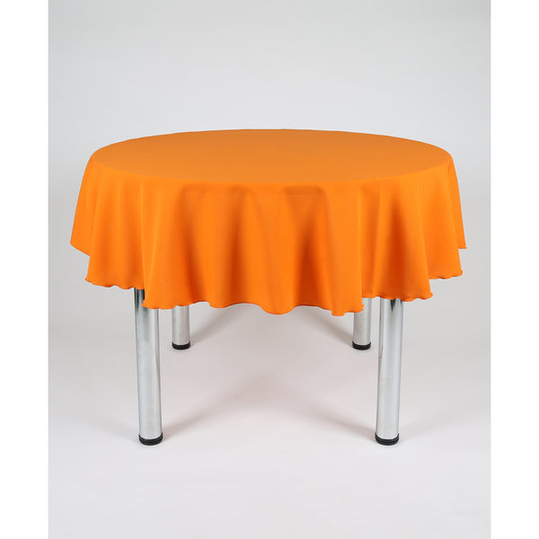Orange Round Polyester Fabric Table cloth - Extra Wide suitable for weddings, parties, christenings.