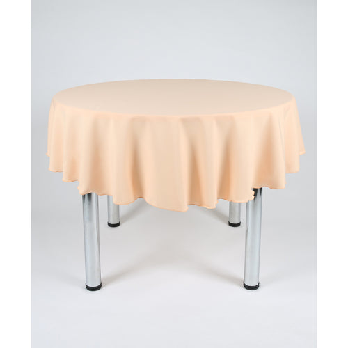 Peach Round Polyester Fabric Tablecloth