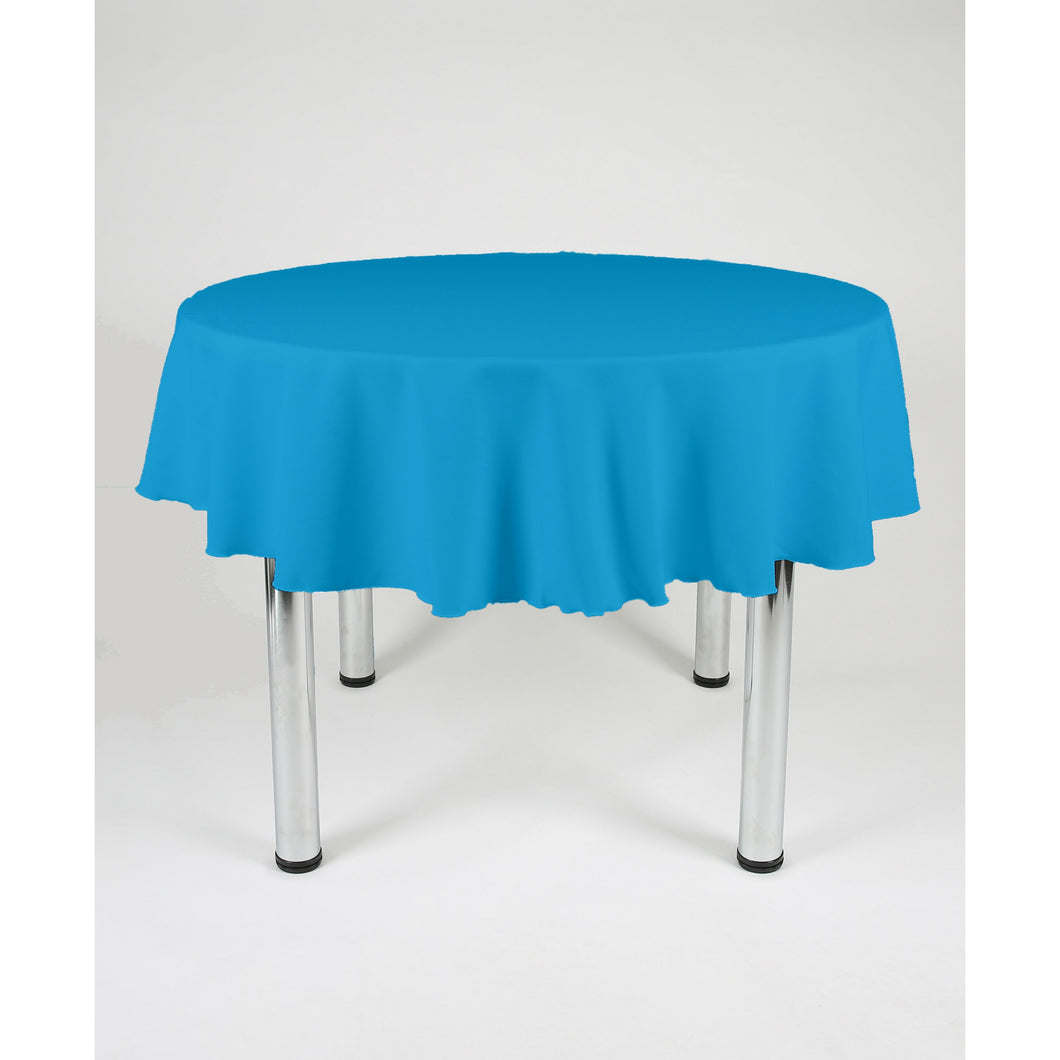 Peacock Blue Round Polyester Fabric Table cloth