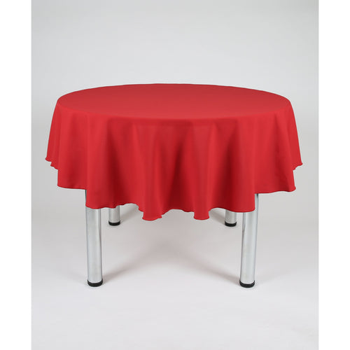 Red Round Polyester Fabric Tablecloth - Extra Wide Suitable for weddings, parties, christenings