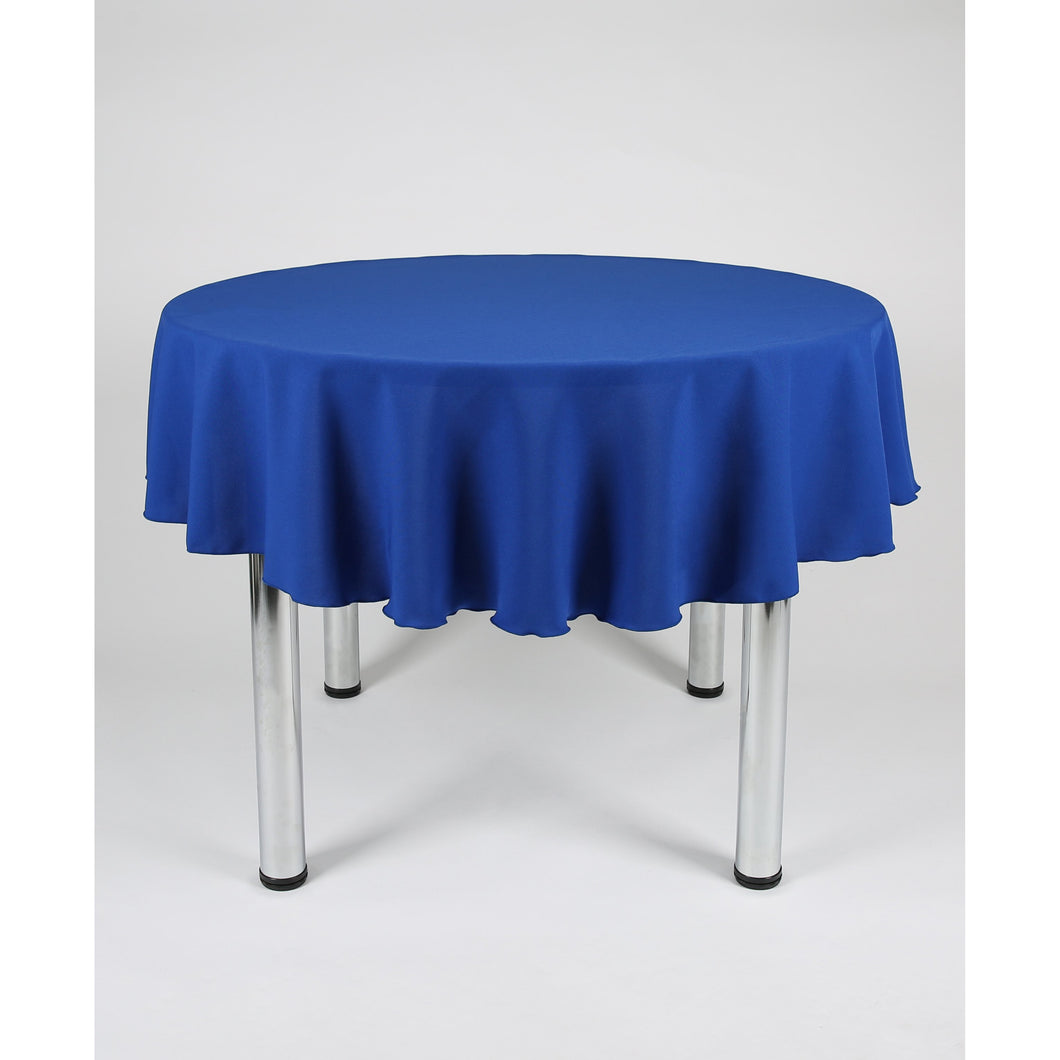 Royal Blue Round Polyester Fabric Tablecloth - Extra Wide Suitable for weddings, parties, christenings