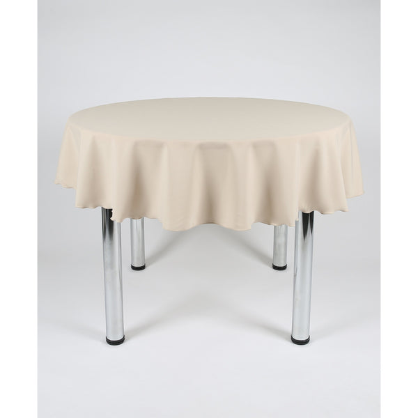 Beige Round Polyester Fabric Table cloth - Extra Wide