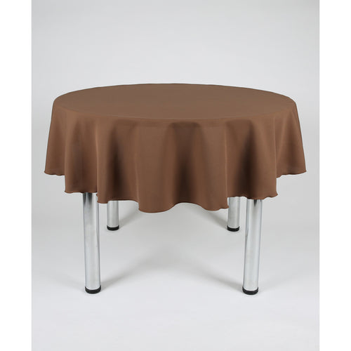 Brown Round Polyester Fabric Table cloth