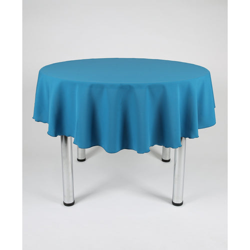 Teal Round Polyester Fabric Tablecloth