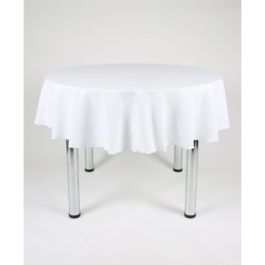 White Round Polyester Fabric Tablecloth - Extra Wide Suitable for weddings, parties, christenings