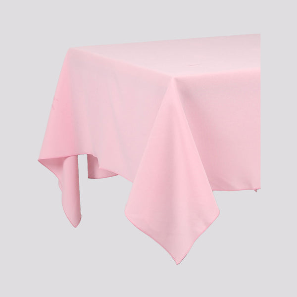 Baby Pink Rectangle Polyester Fabric Table cloth - Pub Style Tables