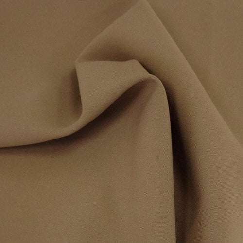 Tan Bi-Stretch Polyester Suiting Fabric - By the metre