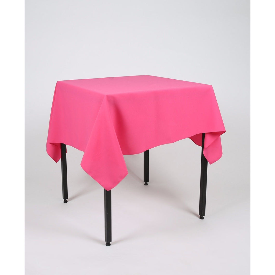 Hot Pink Square Polyester Fabric Tablecloth - Extra Wide - Extra Wide