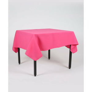 Hot Pink Rectangle Polyester Fabric Tablecloth - Pub Style Tables