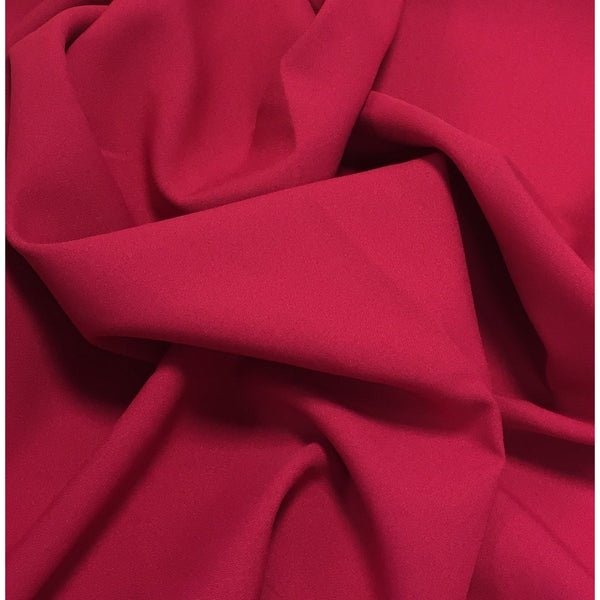Magenta Dark Pink Bi-Stretch Polyester Suiting Fabric - By the metre
