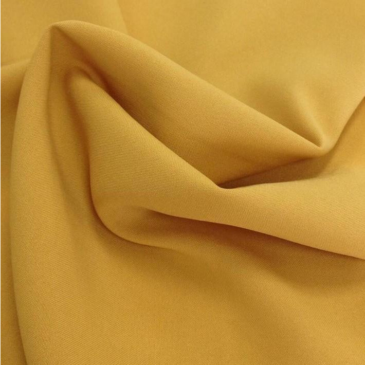 Mustard Yellow Bi-Stretch Polyester Suiting Fabric - By the metre
