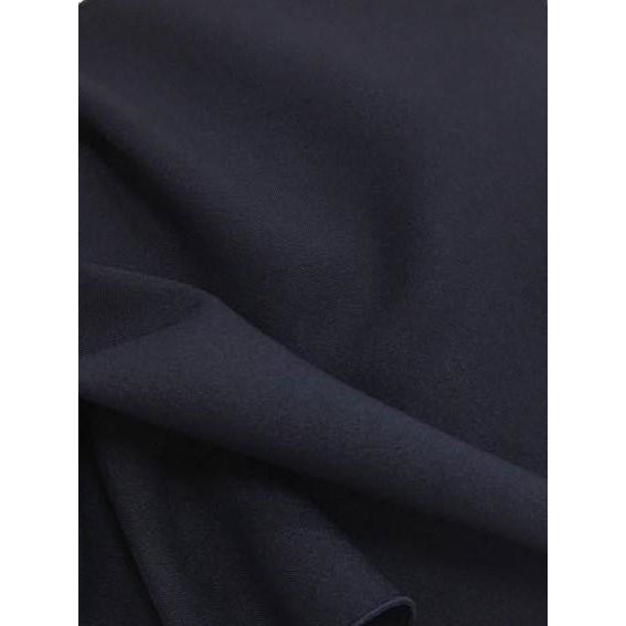Dark Navy Blue Bi-Stretch Polyester Suiting Fabric - By the metre