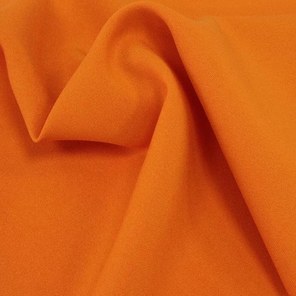 Orange Bi-Stretch Polyester Suiting Fabric - By the metre
