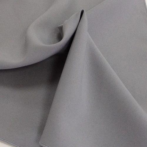 Light Grey Silver Bi-Stretch Polyester Suiting Fabric - By the metre