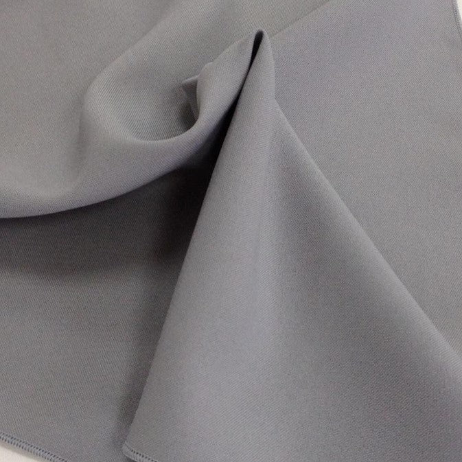Silver Light Grey Bi-Stretch Polyester Suiting Fabric - By the metre