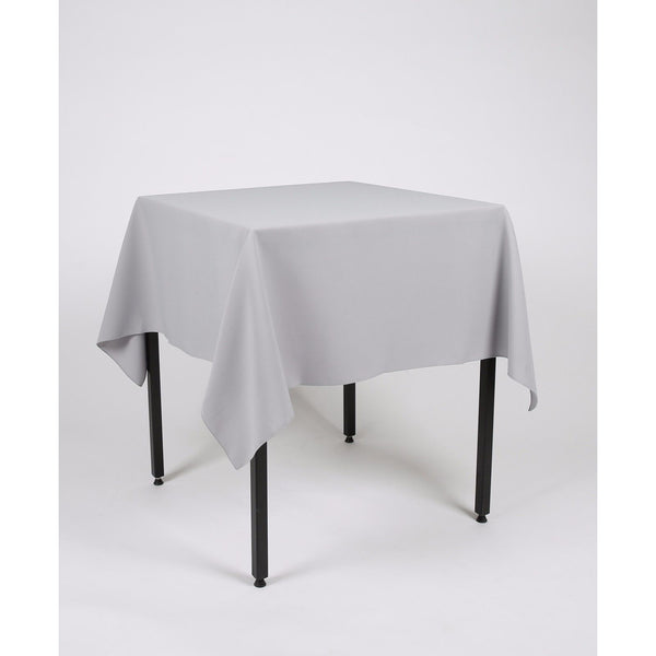 Light Grey Silver Square Polyester Fabric Table cloth - Extra Wide Suitable for weddings, parties, christenings.