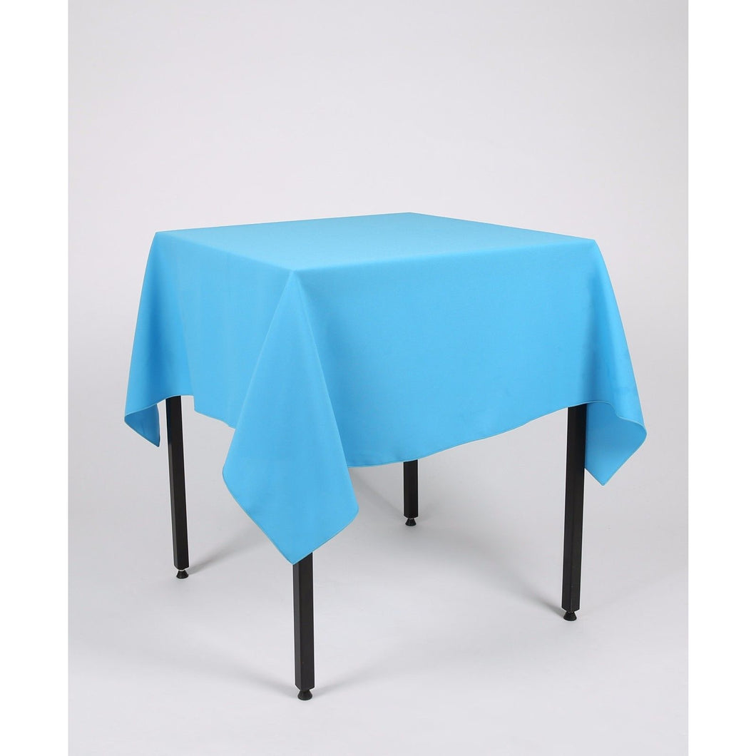 Turquoise Square Polyester Fabric Tablecloth - Extra Wide