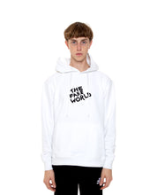 "Load image into Gallery viewer, White ""FAKE World"" Pullover Hoodie"