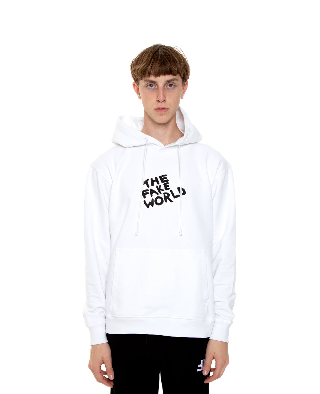 "White ""FAKE World"" Pullover Hoodie"