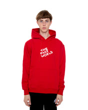 "Load image into Gallery viewer, Red ""FAKE World"" Pullover Hoodie"