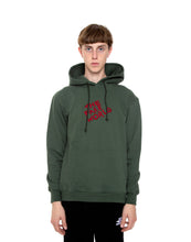 "Load image into Gallery viewer, Olive ""FAKE World"" Pullover Hoodie"